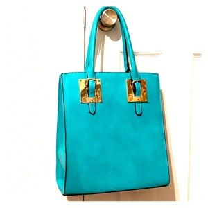 Dasein structured turquoise tote with gold accents